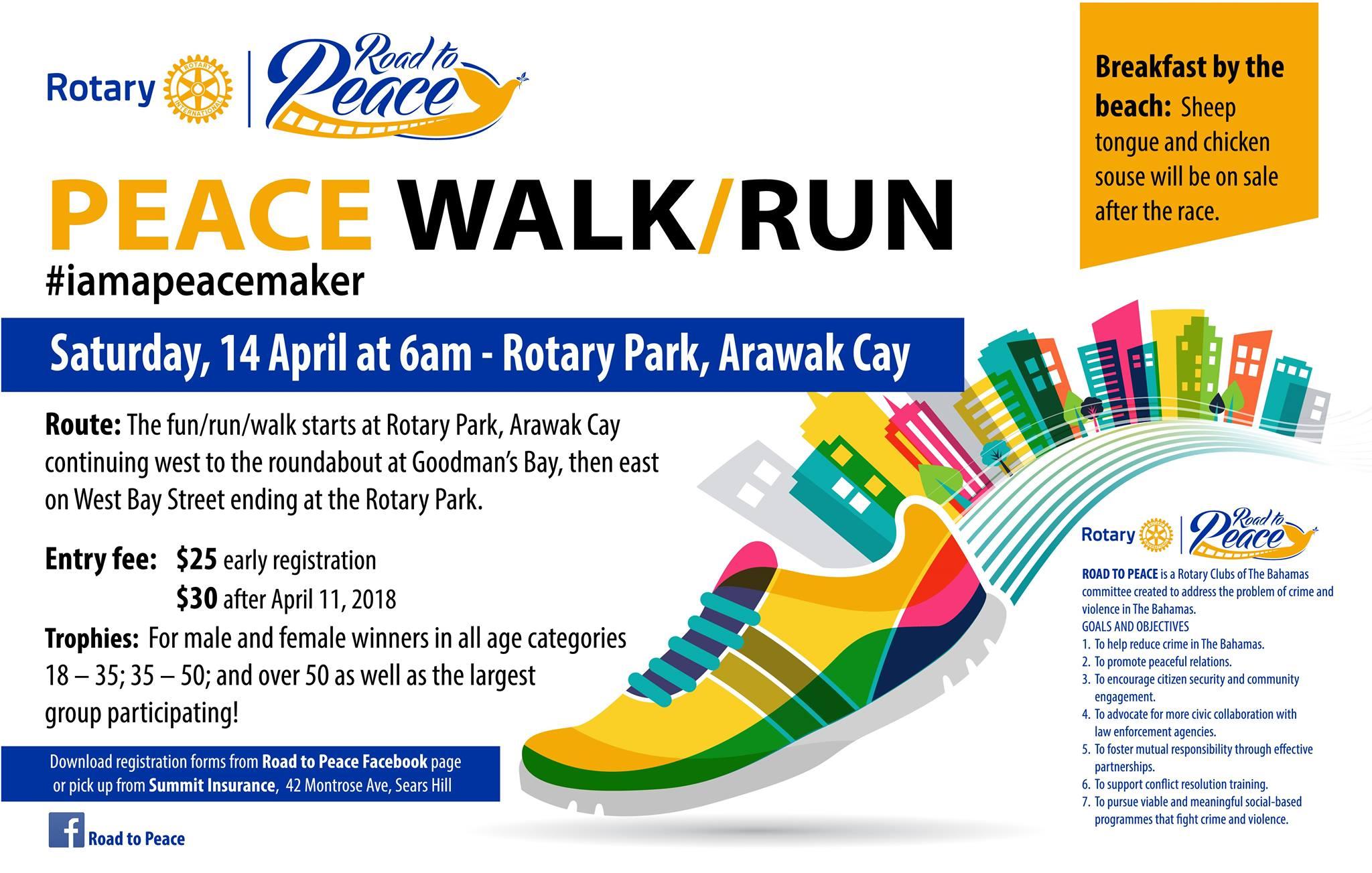 Rotary Peace Walk/Run April 14, 2018 - WeblogBahamas com